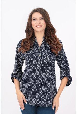 Bluza bleumarin cu print geometric si guler tunica