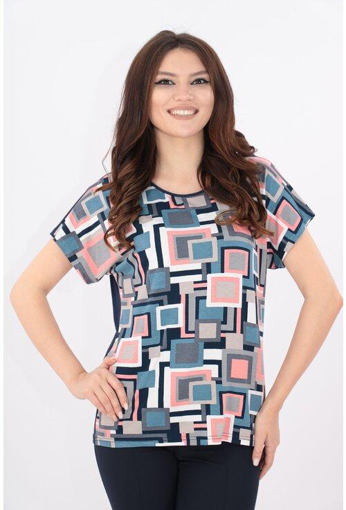 Bluza bleumarin cu print multicolor gri