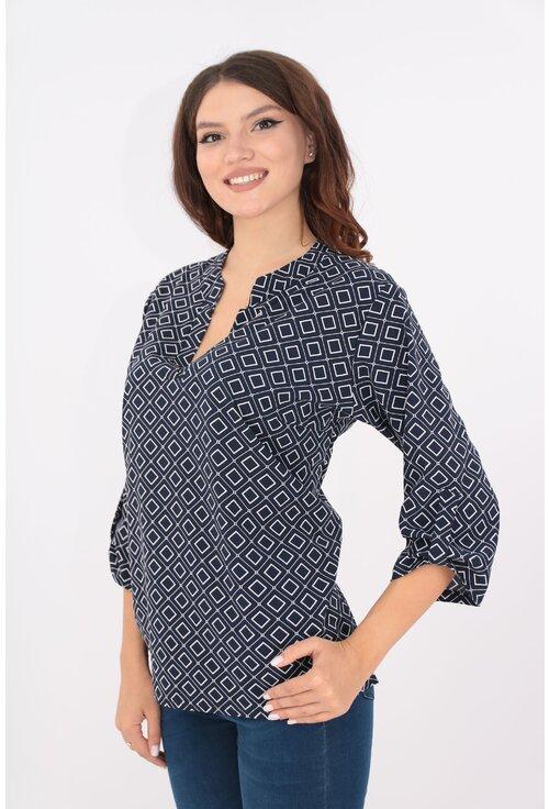 Bluza bleumarin cu romburi si guler tunica