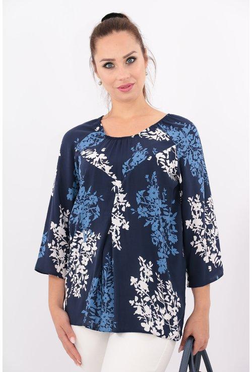Bluza bleumarin din bumbac cu print floral