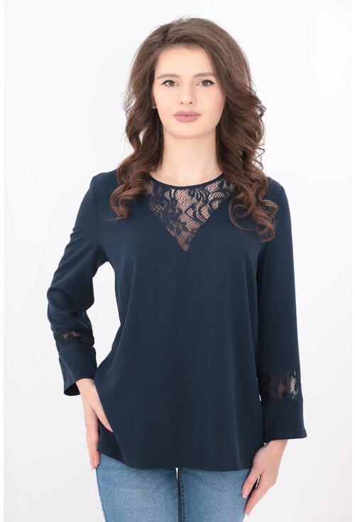 Bluza bleumarin din vascoza cu dantela