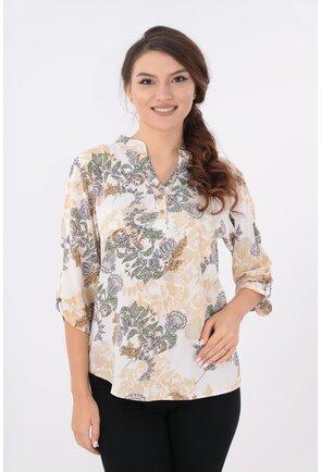 Bluza cu model floral bej si guler tunica