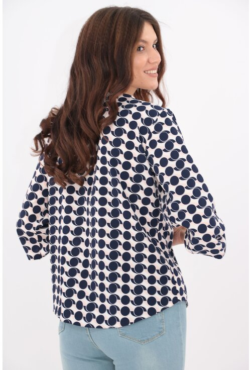 Bluza cu print abstract bleumarin-roz