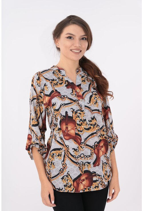 Bluza cu print abstract maro si guler tunica