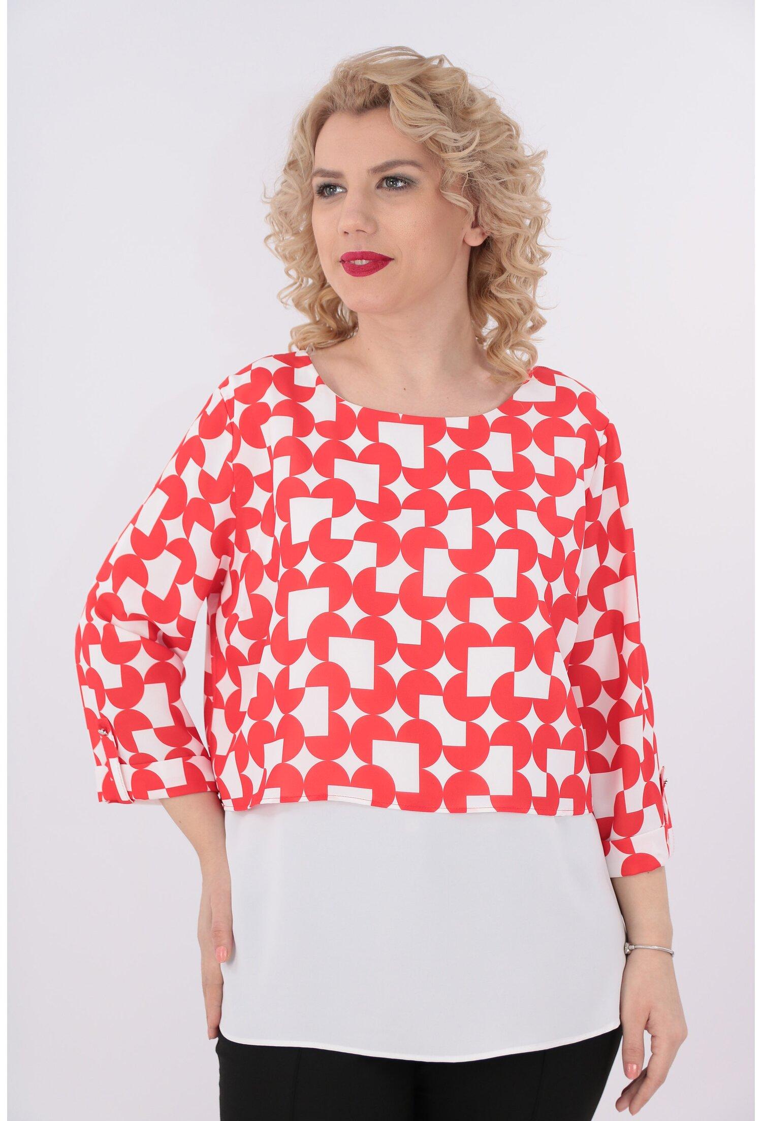 Bluza cu print geometric rosu