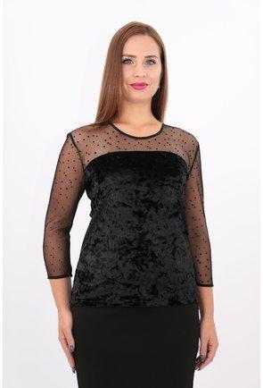 Bluza din catifea neagra elastica