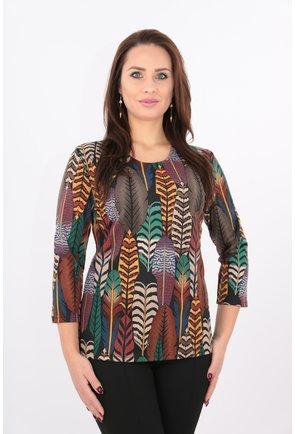 Bluza din jerse cu print cu frunze multicolore