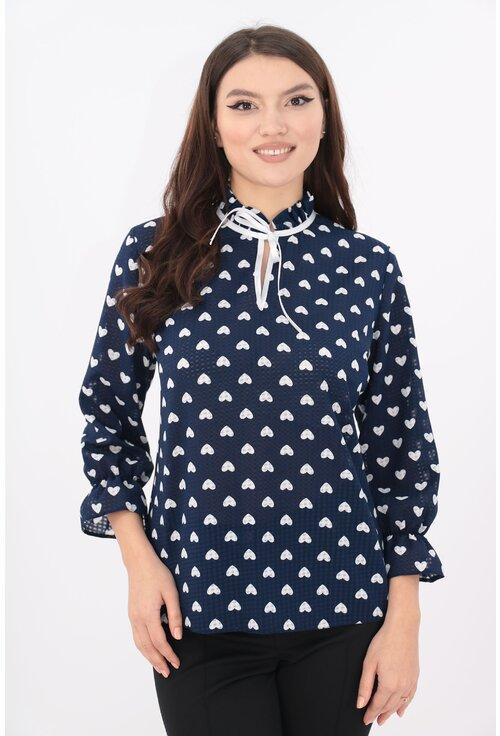 Bluza din vascoza bleumarin cu inimioare