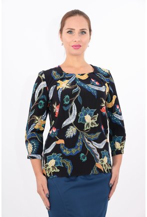 Bluza din vascoza cu print floral multicolor