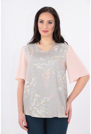 Bluza din vascoza gri cu maneci din voal roz