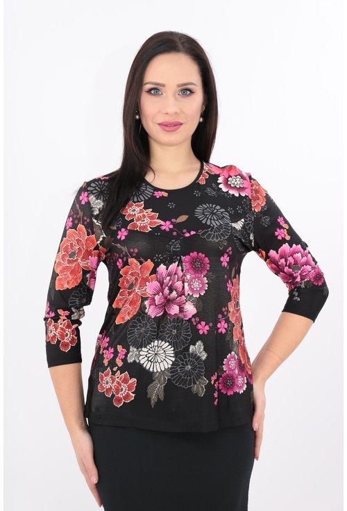 Bluza din vascoza neagra cu print floral