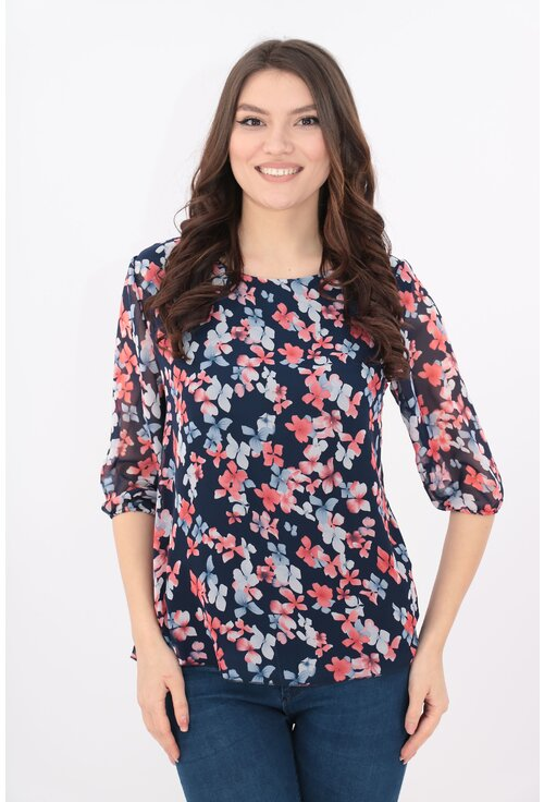 Bluza din voal bleumarin cu flori bleu si rosii