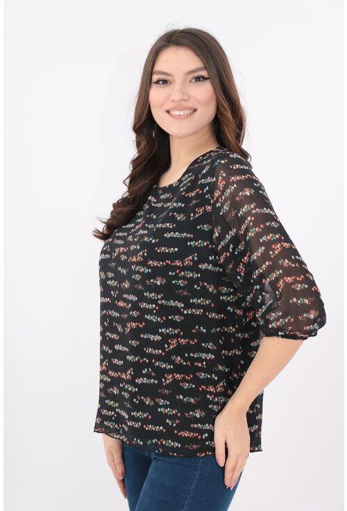 Bluza din voal negru cu print floral discret