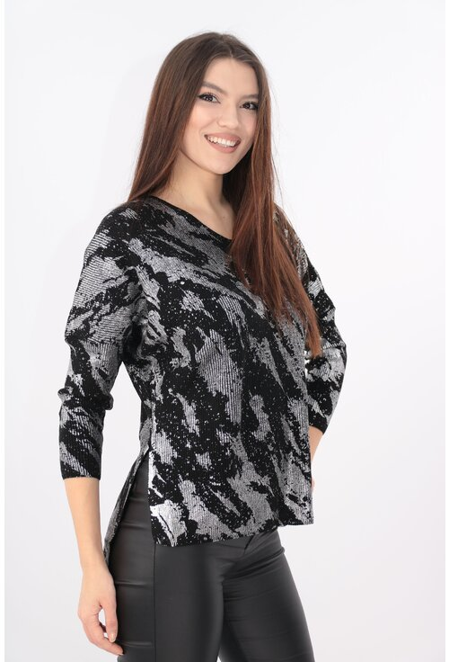 Bluza eleganta neagra cu print argintiu