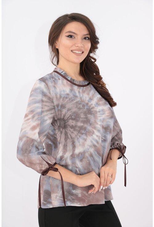 Bluza gri cu print abstract cafeniu