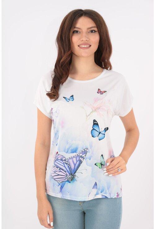 Bluza lejera alba cu fluturi albastri