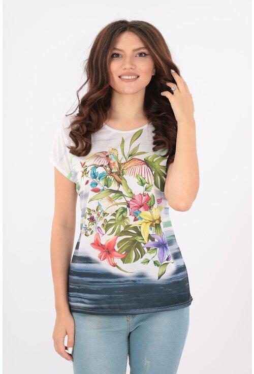 Bluza lejera alba cu print exotic