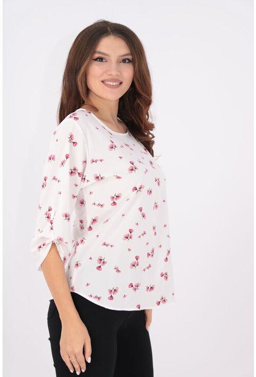 Bluza lejera alba cu print floral roz