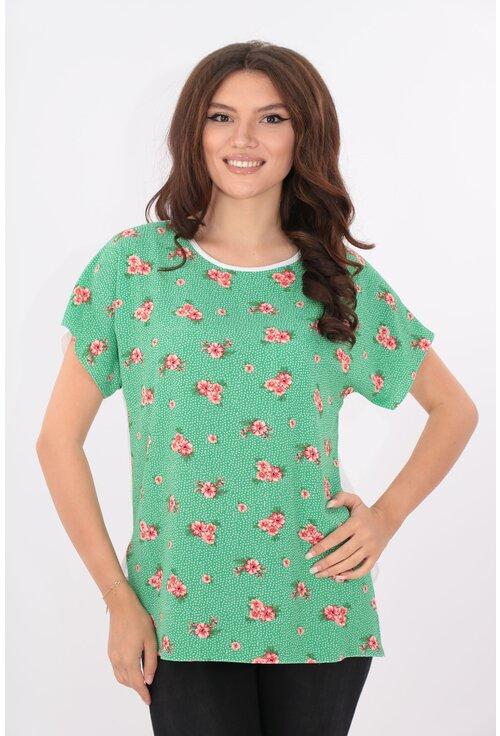 Bluza lejera alba cu verde si flori rosii