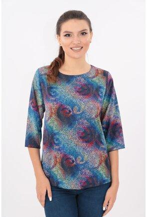Bluza lejera albastra cu desen mozaic multicolor