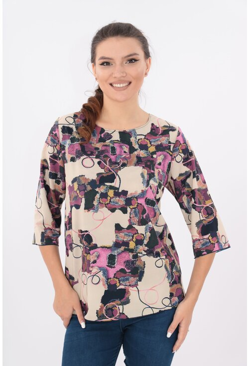 Bluza lejera bej cu desen abstract violet