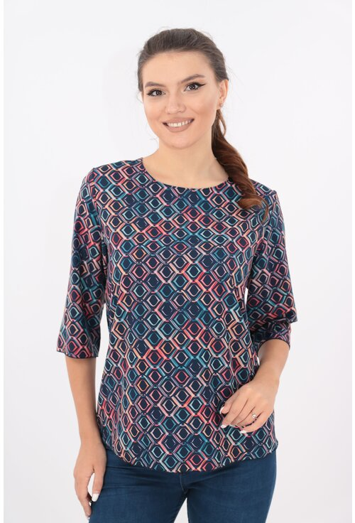 Bluza lejera bleumarin cu desen abstract multicolor