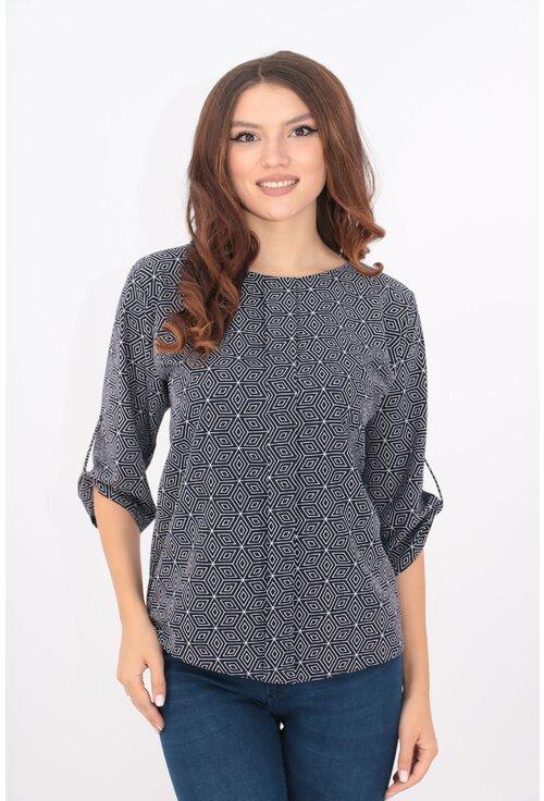 Bluza lejera bleumarin cu desen geometric si pliu in fata