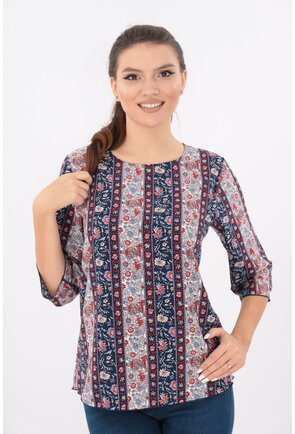 Bluza lejera bleumarin cu dungi si flori rosii
