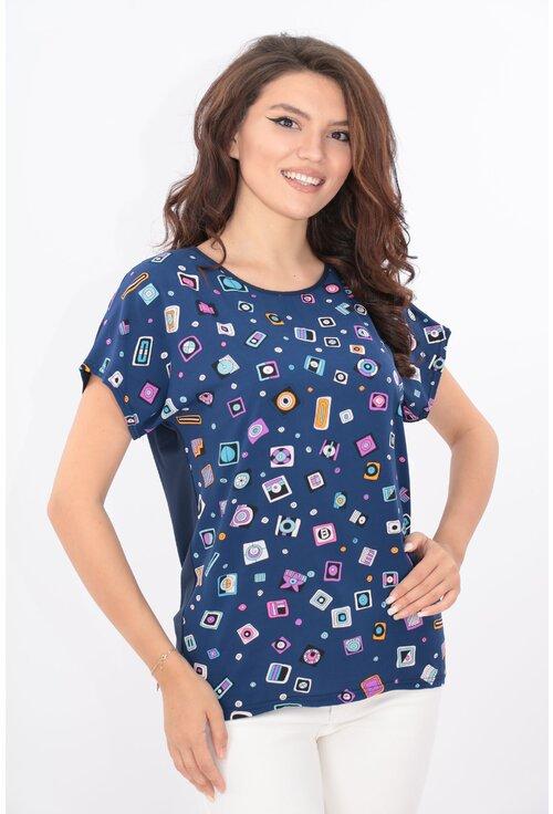 Bluza lejera bleumarin cu print geometric
