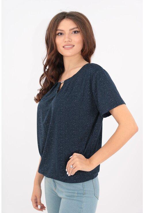 Bluza lejera bleumarin din vascoza cu puncte albe