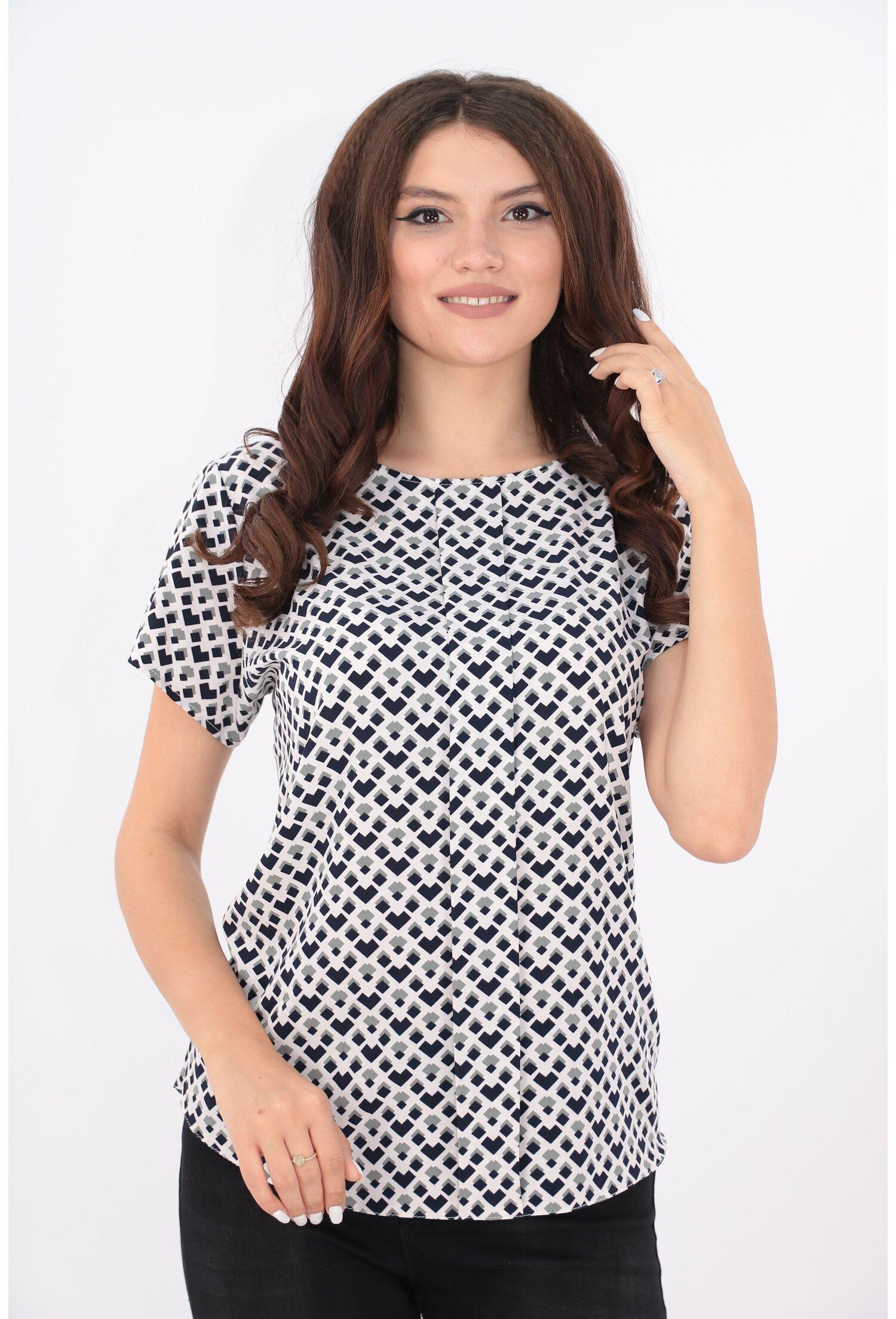 Bluza lejera cu print geometric bleumarin-gri