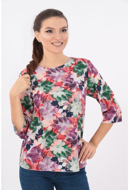 Bluza lejera roz cu desen floral multicolor