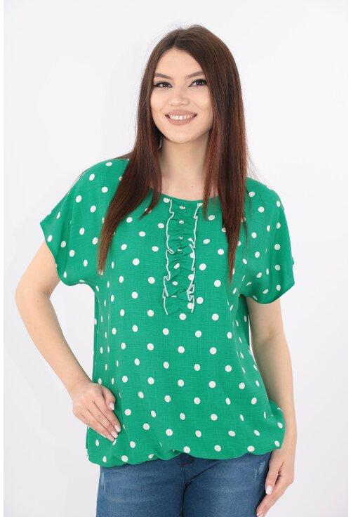 Bluza lejera verde cu buline albe