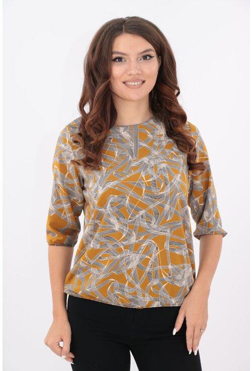 Bluza mustar cu desen geometric fin bej