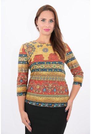 Bluza mustar din tricot cu bordura