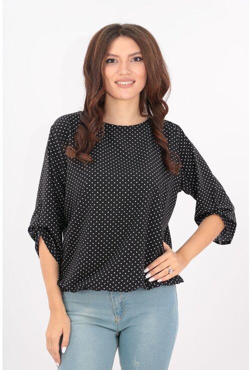Bluza neagra cu buline mici albe