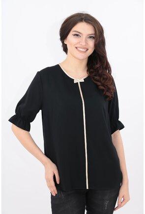 Bluza neagra cu garnitura satinata bej