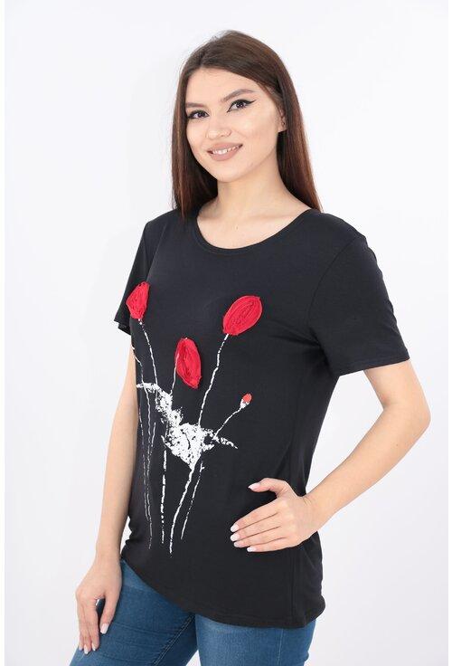 Bluza neagra cu print floral 3D rosu