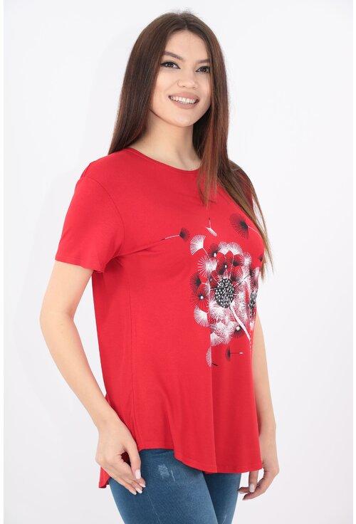 Bluza rosie cu print floral alb-negru