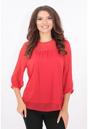 Bluza rosie din voal creponat