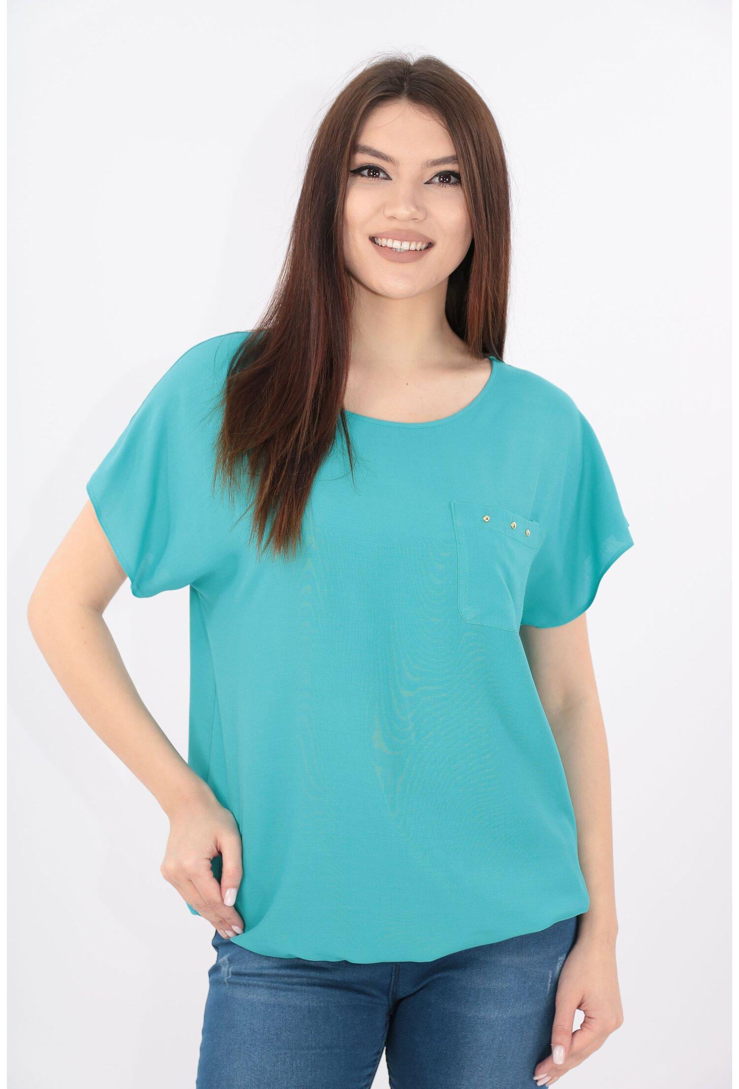 Bluza turcoaz din bumbac cu buzunar aplicat