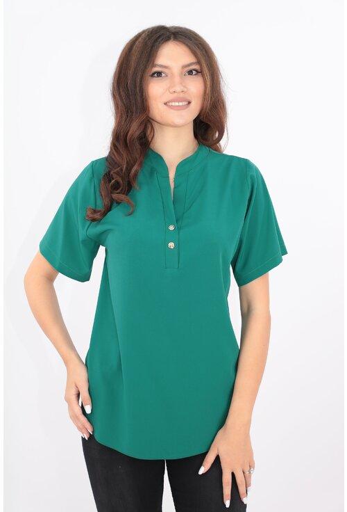 Bluza verde cu guler tunica