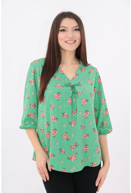 Bluza verde cu print floral
