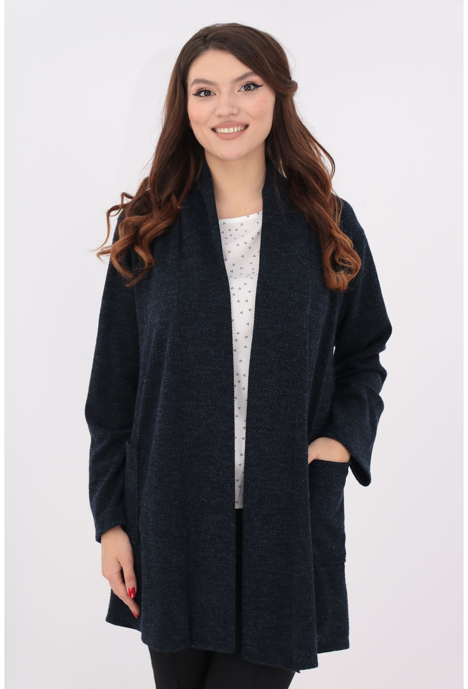 Cardigan bleumarin tricotat cu buzunare
