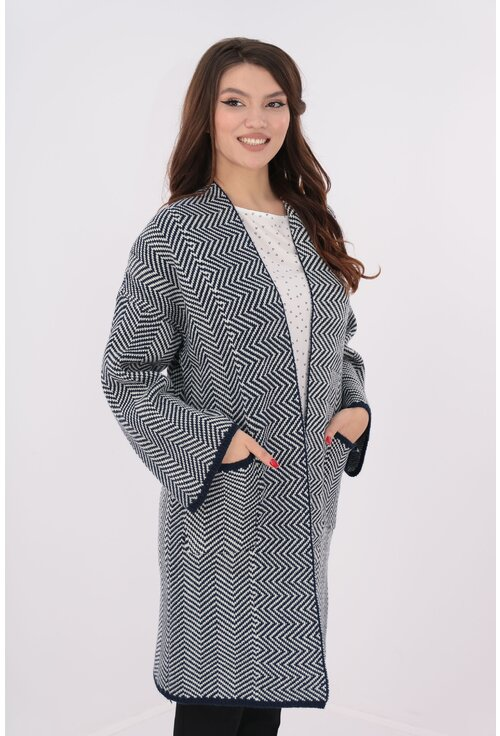 Cardigan gros cu model zig zag bleumarin