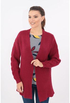 Cardigan lung bordo tricotat spic