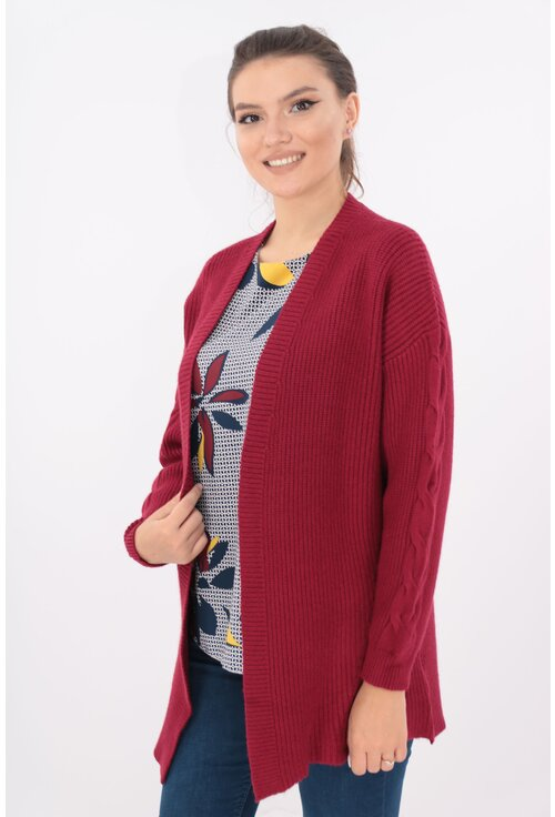 Cardigan lung bordo tricotat spic