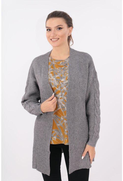 Cardigan lung gri tricotat spic