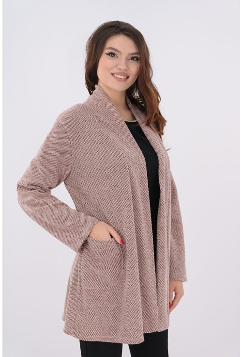 Cardigan roz pudra tricotat cu buzunare