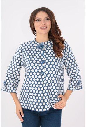 Cardigan tricotat bleumarin cu buline albe